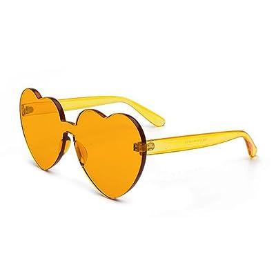 Deyou Lunettes de soleil en forme de coeur en forme de coeur de couleur bonbon de la mode des femmes Lunettes UV intégrées