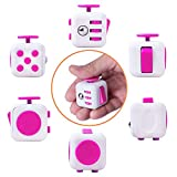 Fidget Cube Prime and Rubber Protective Cover - Relieve Stress, Anxiety, ADD, ADHD, Autism and Boredom for Work, School, Class - Primium Focus Gift Toy for Children and Adults (Pink)