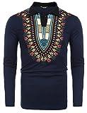 COOFANDY Mens African Print Shirt Bright Dashiki Slim Fit Long Sleeve Polo Shirt, Blue, XX-Large