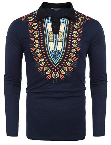 COOFANDY Mens African Print Shirt Bright Dashiki Slim Fit Long Sleeve Polo Shirt, Blue, Large