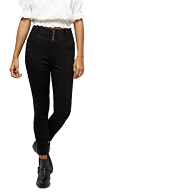 fa878ea8b38c Ladies Ex New Look Petite Black 4 Button High Waist Skinny Yazmin Jeans  (12)  Amazon.co.uk  Clothing