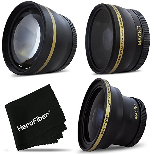 HeroFiber PRO 58mm Lens Attachment for all 58mm Lenses (4) Fisheye + Tele & Wide Angle ()