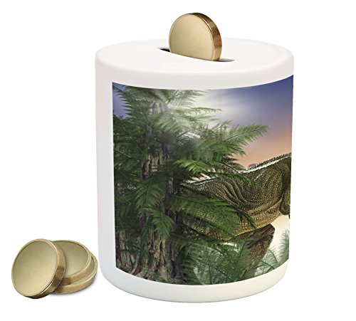 (Ambesonne Jurassic Piggy Bank, Dinosaur in The Jungle Trees Forest Nature Woods Scary Predator Violence, Printed Ceramic Coin Bank Money Box for Cash Saving, Green Blue Peach)