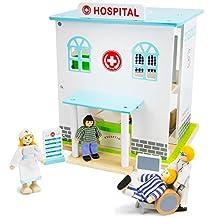 Imagination Generation Wooden Wonders Helping Hands Hospital Playset, 14 Piece