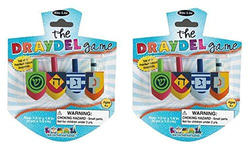 The Draydel Game - Set of 4 Hand Painted Multicolor Chanukah Dreidels - 2 Packs -
