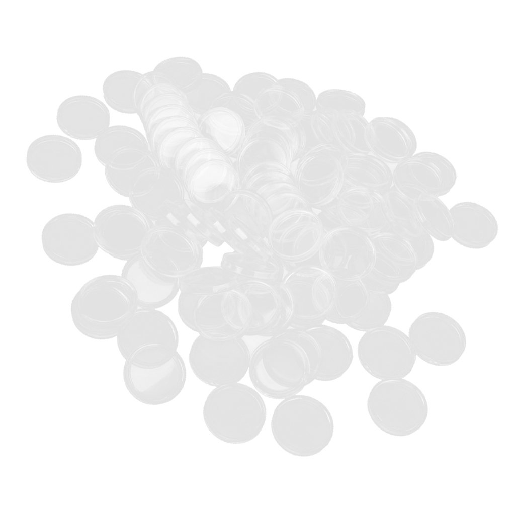 100 Cápsulas de Monedas Caja Color Transparente Diferentes Tamaños para Coleccionista - 32mm