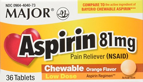 Aspirin 81mg Chewable Orange Flavored Tablets Generic for Bayer Children's Aspirin 36 Tabs per Boxe Pack of 12 Toatal 432 (Orange Flavored Chewable)