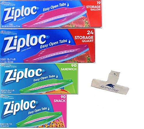 Ziploc Storage Bags Variety Pack – 4 Sizes – 223 Bag Count