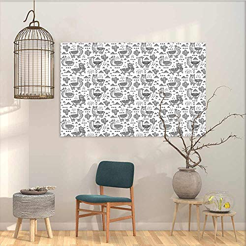 Oncegod Graffiti Canvas Painting Sticker Llama Abstract Triangles with Doodle Style Alpacas in Monochrome Design Cartoon Pattern A for Your Relatives and Friends Black White W35 xL23