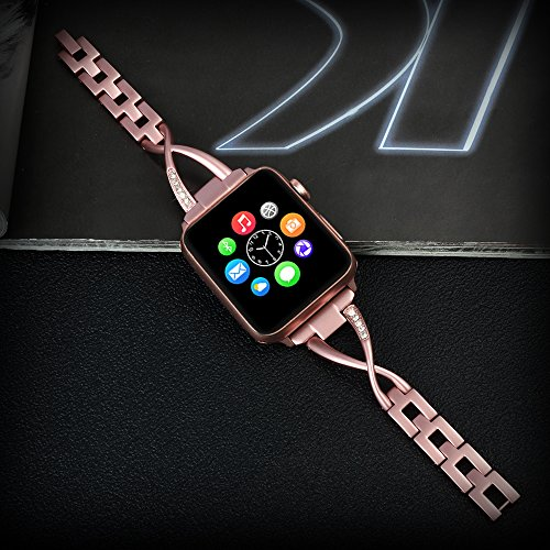 Lwsengme Apple Watch Band,Lwsengme Steel Wrist Band with Adjustable Buckle for Apple iWatch/New Apple iWatch Series 2/ Apple Watch Series 1/Nike+ (42mm-Rose Gold-02) Photo #2