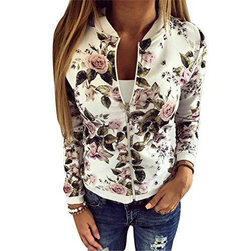 Donna O E Coat Black Jacket Zipper Floral Giacche Size Plus Casual Bomber Neck Capispalla Cappotti Giacca Stampa Basic Sxr1S5Xq