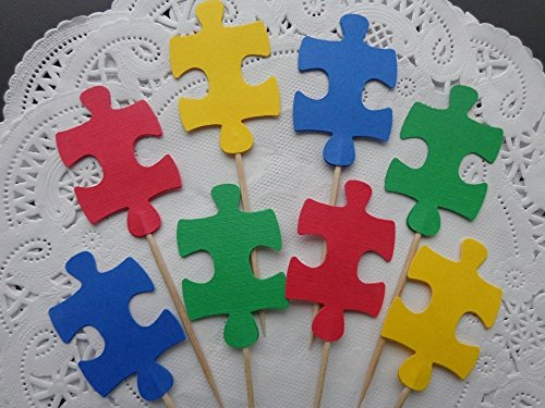 Puzzle Piece Autism Awareness Cupcake Toppers - Food Picks - Party Picks - School Party Appetizer Picks (Set of 24)
