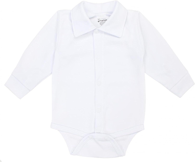 TupTam Babys Long Sleeve Bodysuit wit Button-Down Collar