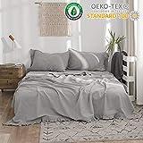 Simple&Opulence Belgian Linen Sheet Set 4PCS Solid Color Ruffles Flouncing(King,Grey)