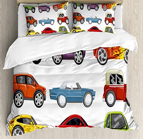 Lunarable Nursery Duvet Cover Set, Race Cars Monster Truck Classics Urban Jeep Speed Automobiles Print, Decorative 3 Piece Bedding Set with 2 Pillow Shams, King Size, Multicolor