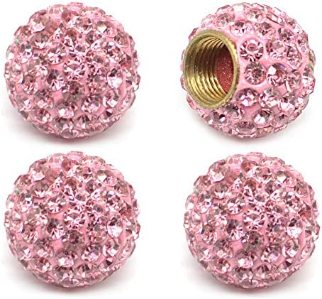 MECHCOS Car Wheel Tire Valve Caps, 4 Pack Crystal Rhinestone Car Tire Wheel Valve Stem Air Caps for Car Tire Accessories Universal for Cars, SUVs, Bicycle, Trucks and Motorcycles – Pink