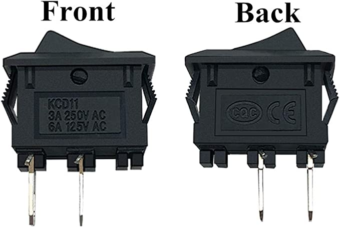 Gn2u On Off Mini Rocker Switch AC 3A//250V 6A//125V 2Solder Lug with 2 AA Battery Holder Pack of 12