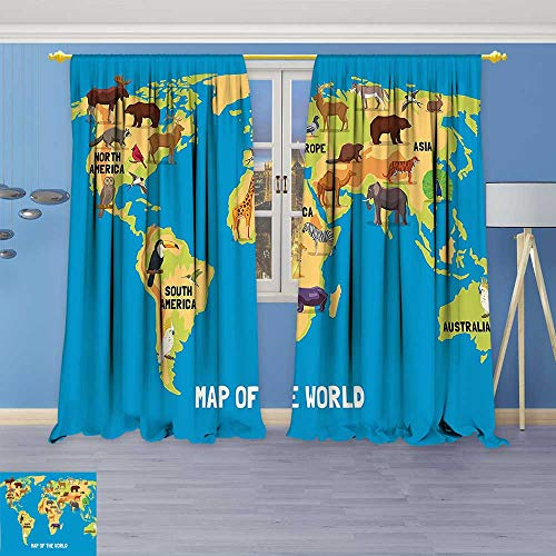 3D Geometry Fashion Design Print Thermal Insulated Blackout Curtain Flat Map of World Artwork with Animals Living in Different Parts of Continents with Top for Bedroom
