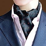 MENDENG Mens Black Red Polka Dot Jacquard Woven Silk Cravat Ties Tuxedo Ascot