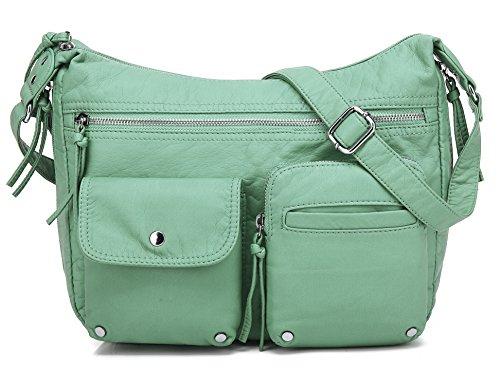 Scarleton Soft Washed Multi Zip Crossbody Bag H180053 - Mint