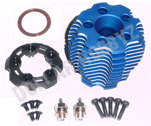 Nitro Engine Cooling - Traxxas Nitro 4-Tec 3.3 Engine ALUMINUM COOLING HEAD, BLUE ANODIZED & GLOW PLUG
