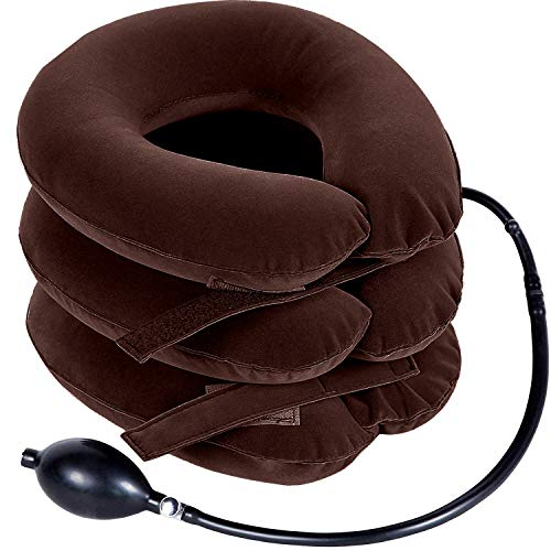 Ohuhu Neck Cervical Traction Collar Device For Neck Shoulder Back Head Pain Relief Inflatable Spine Alignment Pillow, Brown