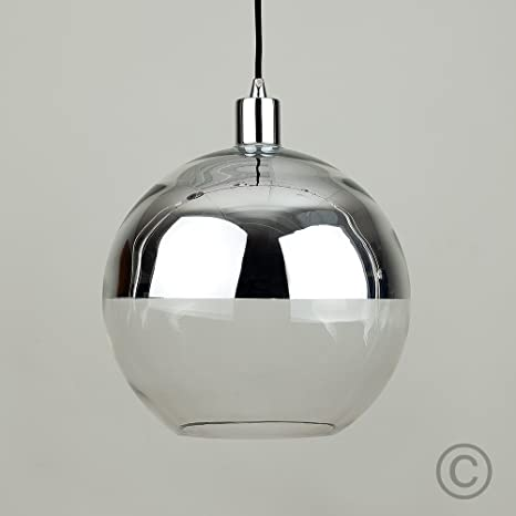 Modern Silver Chrome Clear Glass Ball Ceiling Pendant Light Shade