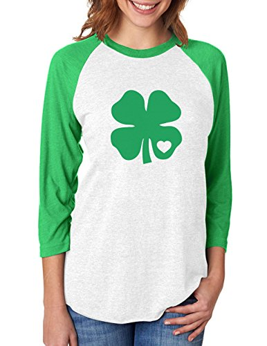 Irish Green Clover Heart St. Patricks Day 3/4 Women Sleeve Baseball Jersey Shirt X-Large Green/White