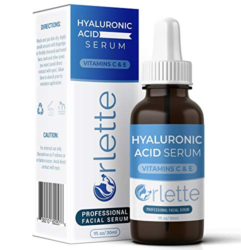 Orlette Hyaluronic Acid Serum Skin Care - Anti-Aging Treatment with Hydrating Vitamin C and Vitamin E - Hydration, Moisturizing and Fine Line Wrinkle Filler - Acne Scar Lightening, Face Plumper (Best Vegan Skin Care Line)