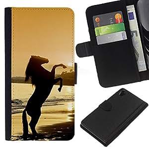 KLONGSHOP // Tirón de la caja Cartera de cuero con ranuras para tarjetas - sunset semental del caballo mustang - Sony Xperia Z2 D6502 //