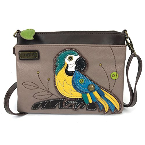 (Chala Mini Crossbody Handbag, Multi Zipper, Pu Leather, Small Shoulder Purse Adjustable Strap, Parrot Blue - Grey)
