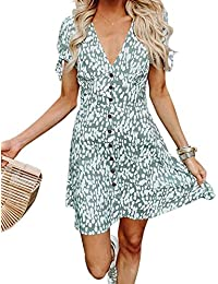 Women Summer Printed V Neck Button Down Casual Party Short Dress with Tie Sleeve
