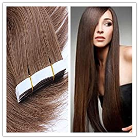 18 Inches Chestnut Brown 20pcs Real Straight Tape in Human Hair Extensions (Color-6)