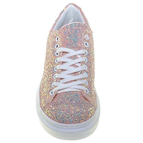 Sneakers Trendy Glitter Basic Rosa Linea Ice Comfort Alto In Bassa Donna Fondo Riflettenti Queen Vera Bianco Pelle HrqTRHEnx