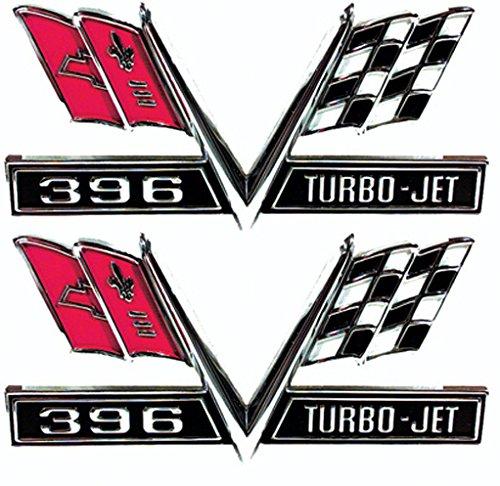 Fender Emblems - 396 Turbo-Jet Flag - 65-67 Camaro Chevelle El Camino Impala (Sold as a Pair)