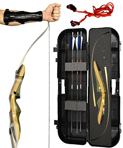 Spyder Takedown Recurve Bow - Ready 2 Shoot Archery Set | INCLUDES Bow, Instructions, Premium Carbon Arrows, Recurve Bow Case, Stringer Tool, Armguard, FREE GIFT | 35 lb RH -Blue