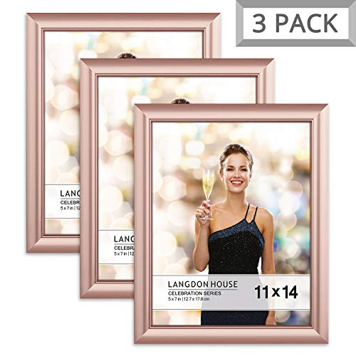Langdons 11x14 Picture Frame (3 Pack, Rose Gold), Rose Gold Photo Frame 11 x 14, Wall Mount or Table Top, Set of 3 Celebration Collection