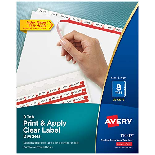 Avery Index Maker Clear Label Dividers, 8 Tab, 25 Sets (11447), - Tab Pack 8