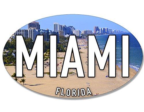 American Vinyl Oval Miami Sticker (Florida fl Beach sea Coast Coastal Logo)