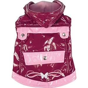 Dogit Style Reversible Butterfly Dog Raincoat, Medium, Purple
