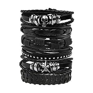 MILAKOO Men Leather Bracelet Punk Braided Rope Alloy Bracelet Bangle Wristband