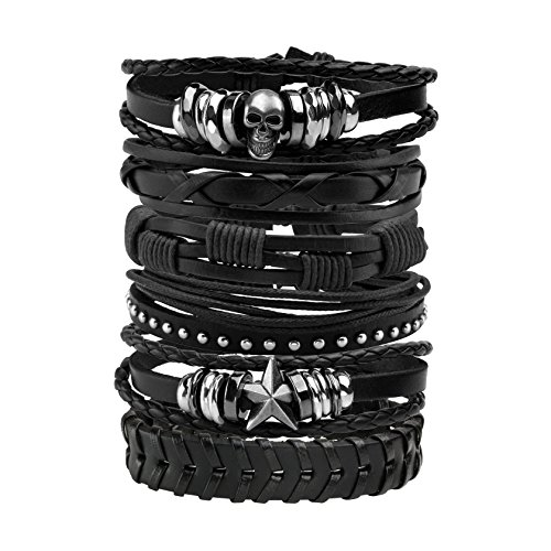 MILAKOO 10 Pcs Men Leather Bracelet Punk Braided Rope Alloy Bracelet Bangle Wristband