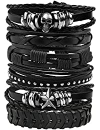 6 Pcs Leather Bracelet Black Brown Braided Wide Wristband Women Men Punk Jewelry Skull