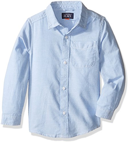 The Children's Place Baby Toddler Boys' Long Sleeve Uniform Oxford Shirt, Ltbluoxfrd 5070, (Button Cuff Oxford Shirt)