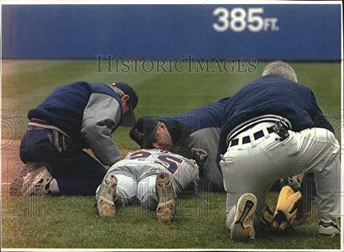 (1994 Press Photo Angels baseball's Jim Edmonds lies motionless after getting hit)
