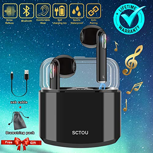 (Wireless Earbuds,Bluetooth Earbuds Wireless Earphones with Mic Charging Case,Sport Running Mini True Stereo Earbuds Bluetooth Compatible iOS Android Samsung Phones X 8 7)