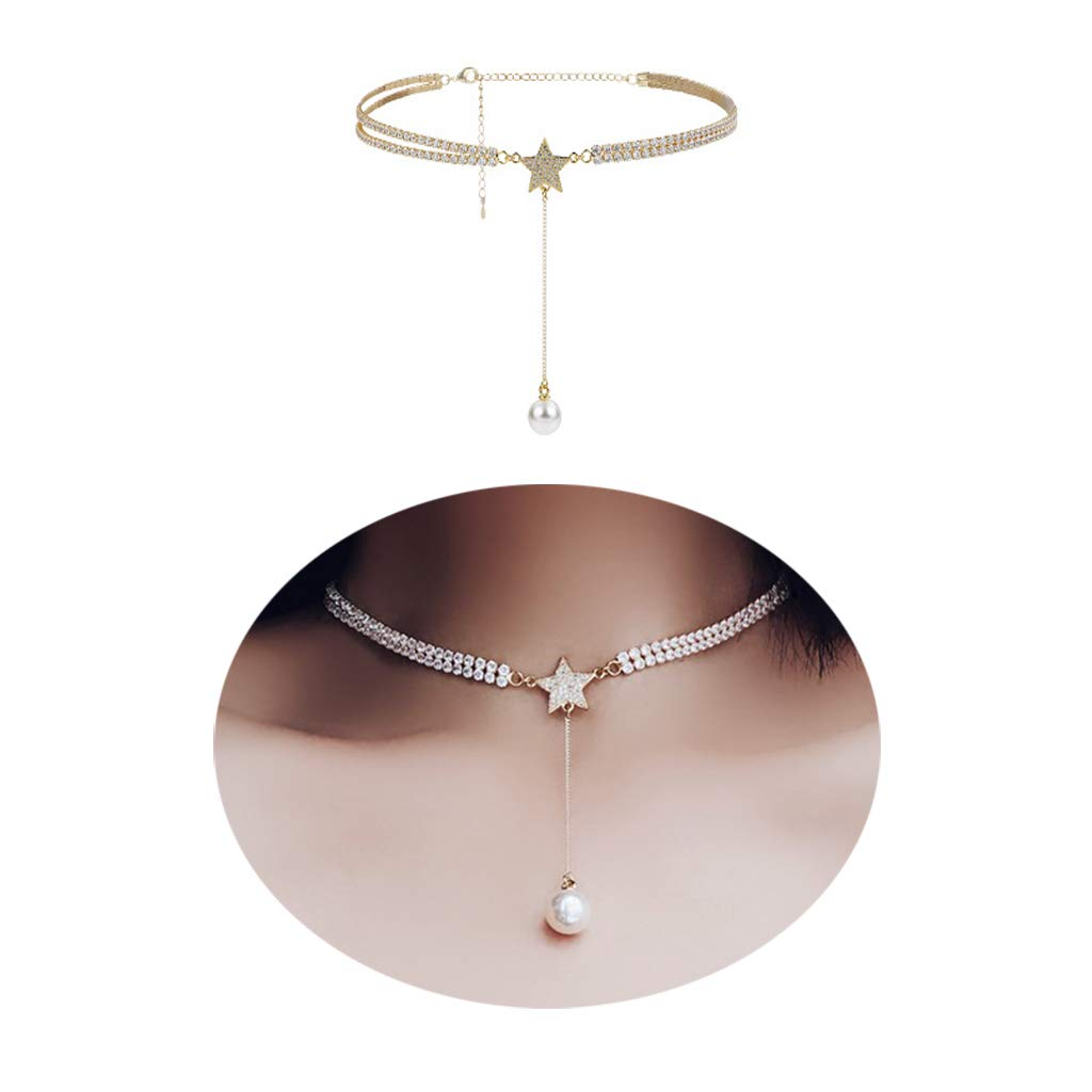 Dream Date 21 Silver Diamond Mounted Shinning Heart Style Choker Necklace Double Layer (Star&Pearl)