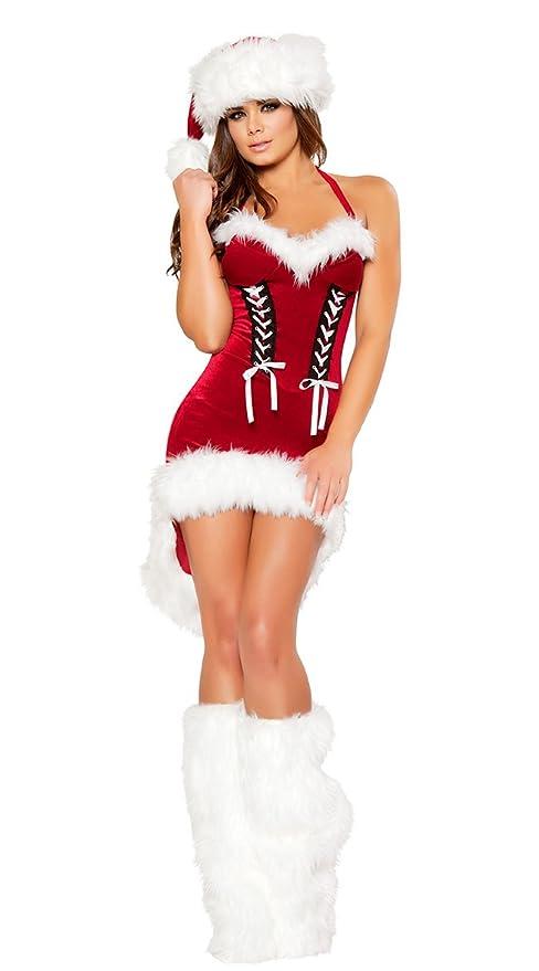 IYOUGOU Donna Di Babbo Natale Costume Smoking Abito Rosso  Amazon.it ... 92119338226