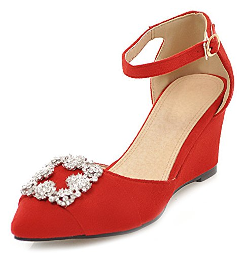 Aisun Women's Daily Rhinestones Buckled Wedge Heels Sandals Red qFqCh