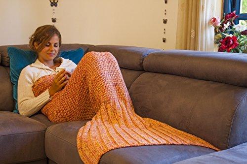 True Koala 71x32-Inch Warm Mermaid Tail Blanket Handmade with Canvas Carrying/Storage Bag, Orange (Best Mermaid Costume)
